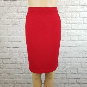 St. John Collection red knee length pencil skirt